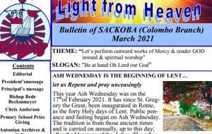 eLanka   St. Anthony's College Kandy Old Boys Association – Light from heaven – Bulletin of SACKOBA (Colombo Branch) – March 2021